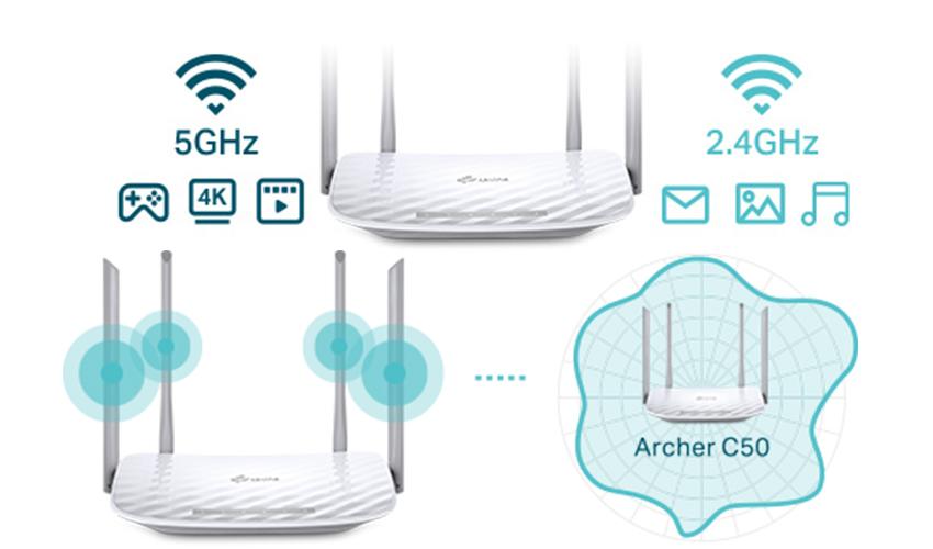 روتر وایرلس چهار پورت سری AC1200 دو باند تی پی لینک TP-LINK Archer C50