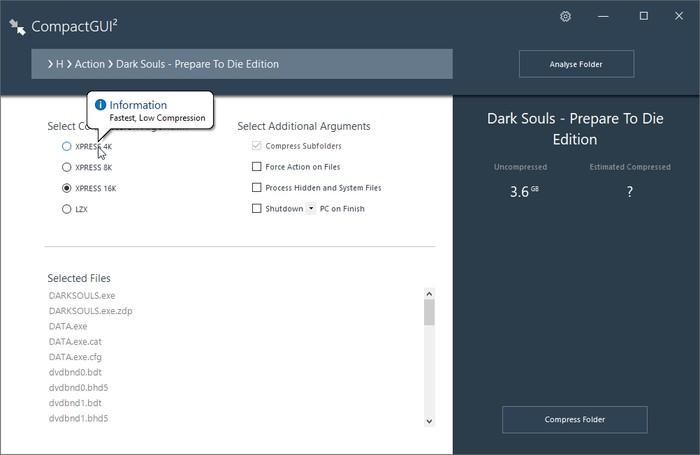 تنظیمات پایه CompactGUI برای فشرده سازی اطلاعات و آزاد کردن فضای هارددیسک