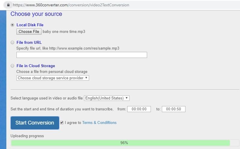 تبدیل فایل صوتی به متن با برنامه آنلاین 360Converter