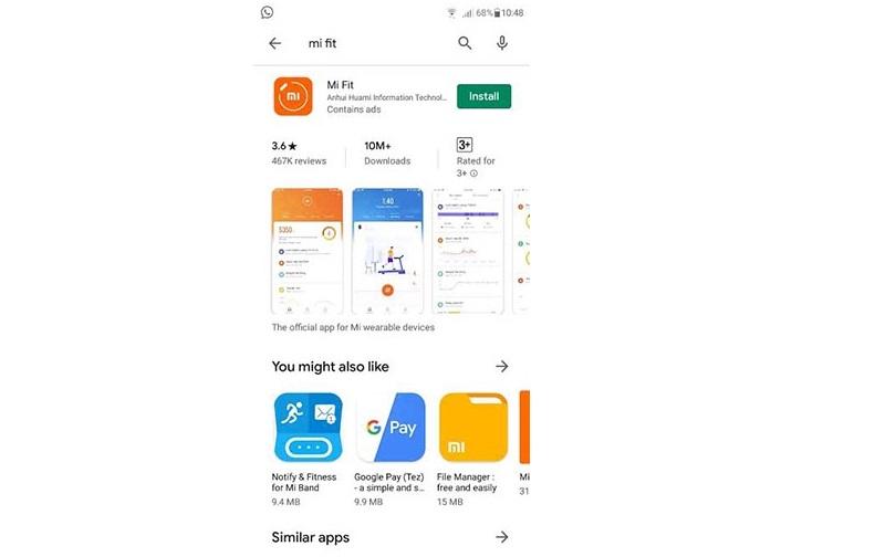 برنامه MI Fit را از گوگل پلی استور دانلود و نصب کنید.