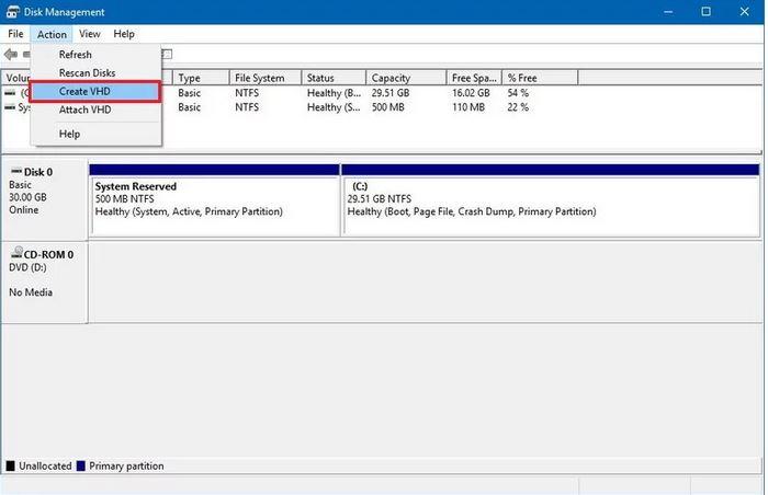 نحوه ایجاد VHDX یا VHD در ویندوز 10