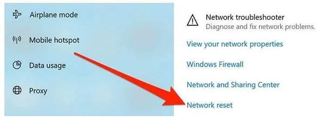 ریست تنظیمات شبکه