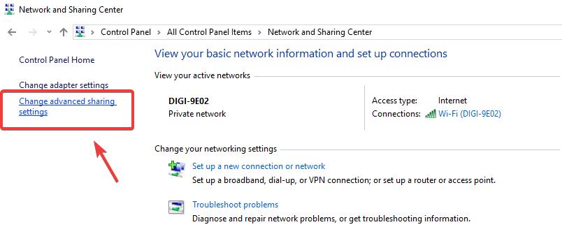 گزینه Advanced sharing settings