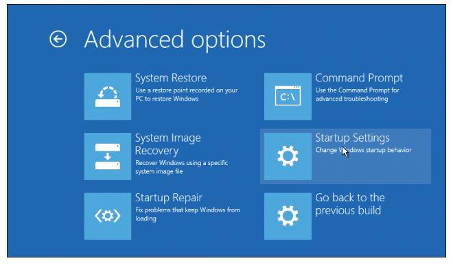Startup Settings را انتخاب کنید.