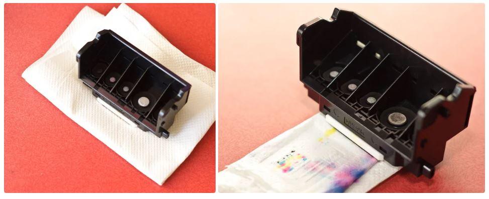 مرحله 5 – هد چاپگر را با دستمال خشک کنید
