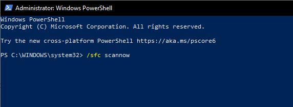 در PowerShell اسکن SFC را اجرا کنید