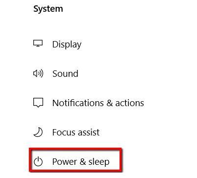 تنظیمات Power & Sleep را بررسی کنید