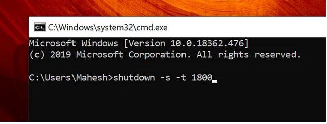 استفاده از command prompt برای خاموش کردن خودکار سیستم ویندوز