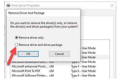 حذف درایور پرینتر از Print Server Properties