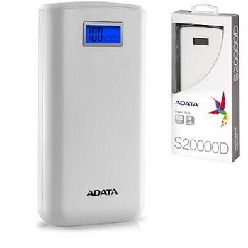 پاوربانک ای دیتا مدل ADATA S20000D با ظرفیت 20000 میلی آمپر ساعت - سفید