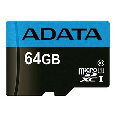 کارت حافظه microSDXC ای دیتا مدل Premier V10 A1 کلاس ۱۰ استاندارد UHS-I U1 سرعت ۱۰۰MBps همراه با آداپتور SD ظرفیت 64 گیگابایت