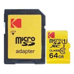 کارت حافظه MicroSDXC کداک مدل Premium Performance کلاس 10 استاندارد UHS-I U1 سرعت 85MBps ظرفیت 64 گیگابایت به همراه آداپتور SD