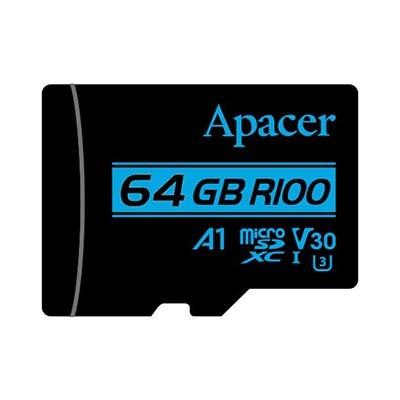 کارت حافظه microSDXC اپیسر مدل V30 A1 کلاس 10 استاندارد UHS-I U3 سرعت 100MBps ظرفیت 64 گیگابایت به همراه آداپتور SD