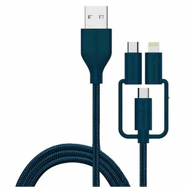 کابل شارژ USB به Lightning، micro USB و Type-C روپاور مدل RP-CB021