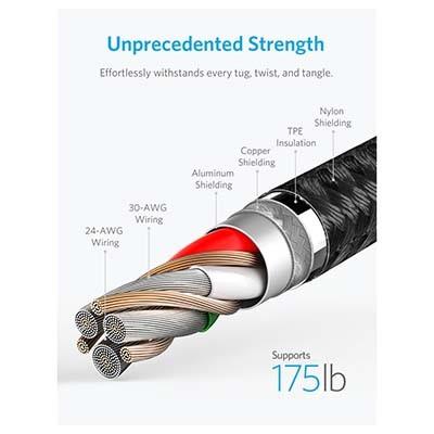 کابل شارژ USB به لایتنینگ انکر مدل A8453 Powerline + II