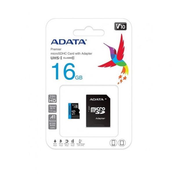 کارت حافظه microSDHC ای دیتا مدل Premier V10 A1 کلاس ۱۰ استاندارد UHS-I U1 سرعت ۱۰۰MBps همراه با آداپتور SD ظرفیت 16 گیگابایت