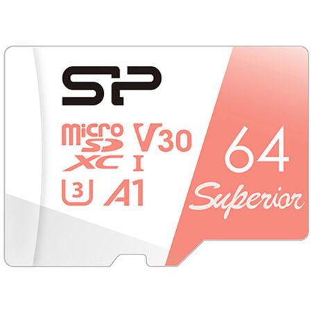 کارت حافظه 64 گیگابایت 100MBps سیلیکون پاور Superior با آداپتور