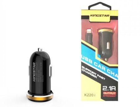 شارژ فندکی 2 پورت کینگ استار مدل K220 I همراه با کابل شارژ لایتنینگ