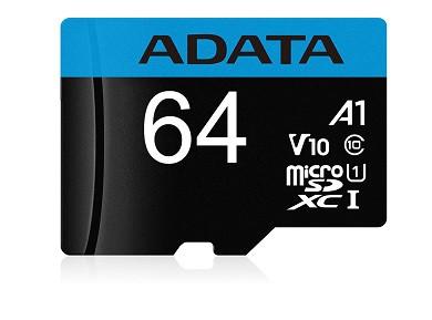 کارت حافظه microSDXC ای دیتا مدل Premier V10 A1 کلاس 10 استاندارد UHSI سرعت 100MBps ظرفیت 64 گیگابایت