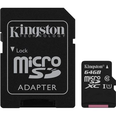 کارت حافظه microSDHC کینگستون مدل Canvas Select کلاس 10 استاندارد UHSI U1 سرعت 80MBps ظرفیت 64 گیگابایت به همراه آداپتور SD